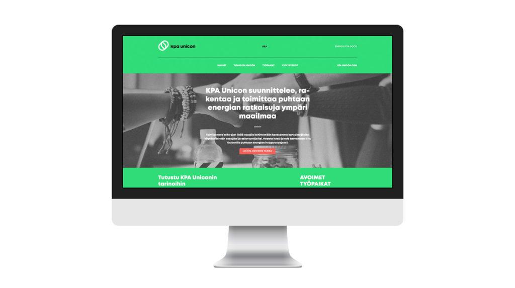 Call To Actionin suunnittelma rekrysivusto KPA Uniconille