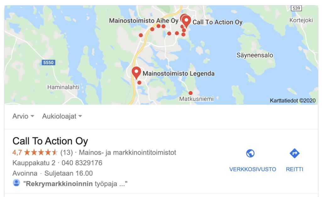 call-to-action-google-my-business-paikalliset-nostot-listaus-arvostelusisalto
